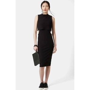 Topshop Cutout Ribbed Midi Dress In Black Size 10